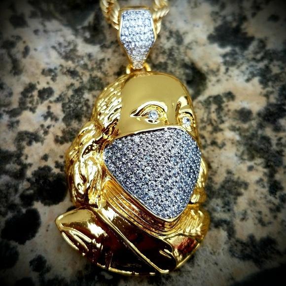 cbb4c9eb783f8 14k Gold Plated Masked Ben Franklin CZ Pendant NWT